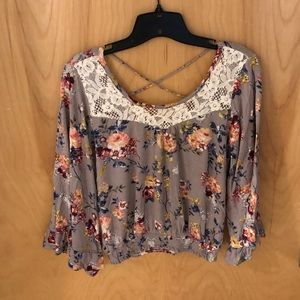 Flare sleeved, cinched is waist, floral top